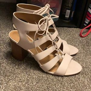 Coach lace up block heels. Larissa heels.